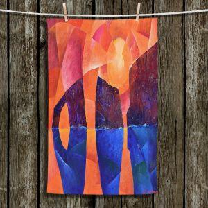 Unique Hanging Tea Towels | Gerry Segismundo - Guardians of Ocean | landscape water cliff abstract geometric