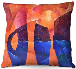 Throw Pillows Decorative Artistic | Gerry Segismundo - Guardians of Ocean | landscape water cliff abstract geometric