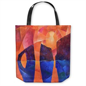 Unique Shoulder Bag Tote Bags | Gerry Segismundo - Guardians of Ocean | landscape water cliff abstract geometric