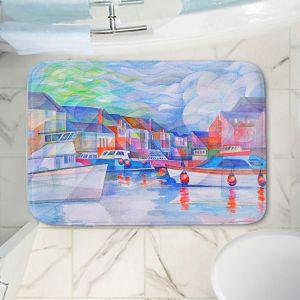 Decorative Bathroom Mats | Gerry Segismundo - Harbor Somewhere | city bay water ocean boats