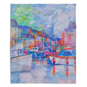 Decorative Fleece Throw Blankets | Gerry Segismundo - Harbor Somewhere | city bay water ocean boats