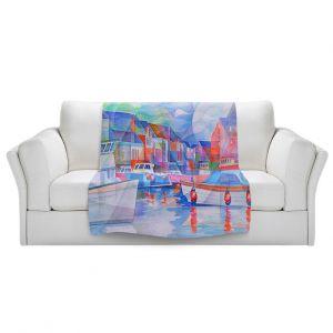 Artistic Sherpa Pile Blankets | Gerry Segismundo - Harbor Somewhere | city bay water ocean boats