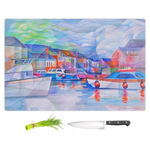 Artistic Kitchen Bar Cutting Boards | Gerry Segismundo - Harbor Somewhere | city bay water ocean boats