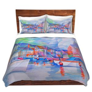 Artistic Duvet Covers and Shams Bedding | Gerry Segismundo - Harbor Somewhere | city bay water ocean boats