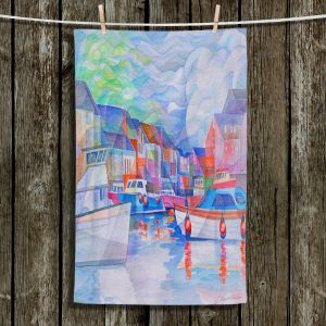 Unique Hanging Tea Towels | Gerry Segismundo - Harbor Somewhere | city bay water ocean boats