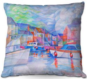 Decorative Outdoor Patio Pillow Cushion | Gerry Segismundo - Harbor Somewhere | city bay water ocean boats