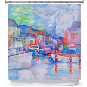 Premium Shower Curtains | Gerry Segismundo - Harbor Somewhere | city bay water ocean boats