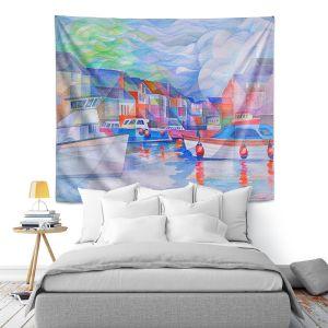Artistic Wall Tapestry | Gerry Segismundo - Harbor Somewhere | city bay water ocean boats