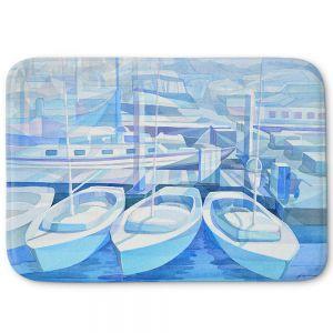 Decorative Bathroom Mats | Gerry Segismundo - Marina in Blue 1 | harbor boats bay dock