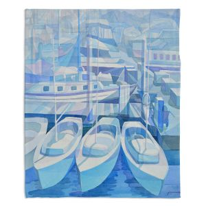 Decorative Fleece Throw Blankets | Gerry Segismundo - Marina in Blue 1 | harbor boats bay dock
