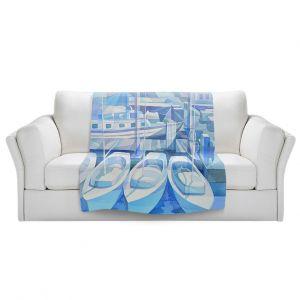 Artistic Sherpa Pile Blankets | Gerry Segismundo - Marina in Blue 1 | harbor boats bay dock