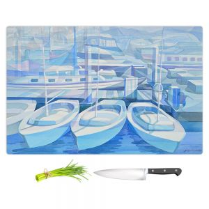 Artistic Kitchen Bar Cutting Boards | Gerry Segismundo - Marina in Blue 1 | harbor boats bay dock