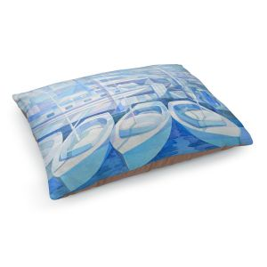 Decorative Dog Pet Beds | Gerry Segismundo - Marina in Blue 1 | harbor boats bay dock