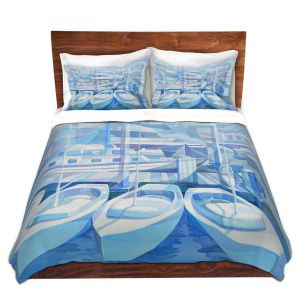 Artistic Duvet Covers and Shams Bedding | Gerry Segismundo - Marina in Blue 1 | harbor boats bay dock