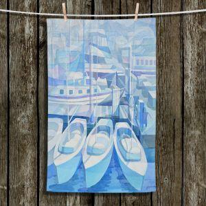 Unique Bathroom Towels | Gerry Segismundo - Marina in Blue 1 | harbor boats bay dock