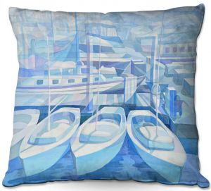 Throw Pillows Decorative Artistic | Gerry Segismundo - Marina in Blue 1 | harbor boats bay dock