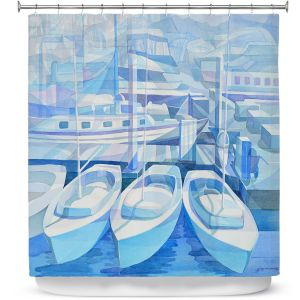 Premium Shower Curtains | Gerry Segismundo - Marina in Blue 1 | harbor boats bay dock