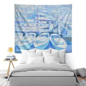 Artistic Wall Tapestry | Gerry Segismundo - Marina in Blue 1 | harbor boats bay dock