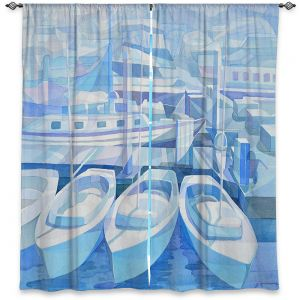 Decorative Window Treatments | Gerry Segismundo - Marina in Blue 1 | harbor boats bay dock