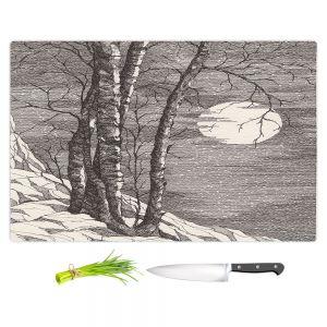 Artistic Kitchen Bar Cutting Boards | Gerry Segismundo - Moonlight Sonata 1 | landscape snow trees moon