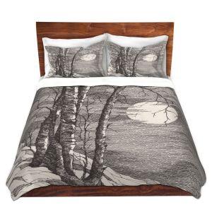 Artistic Duvet Covers and Shams Bedding | Gerry Segismundo - Moonlight Sonata 1 | landscape snow trees moon