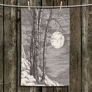 Unique Hanging Tea Towels | Gerry Segismundo - Moonlight Sonata 1 | landscape snow trees moon