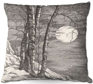 Decorative Outdoor Patio Pillow Cushion | Gerry Segismundo - Moonlight Sonata 1 | landscape snow trees moon