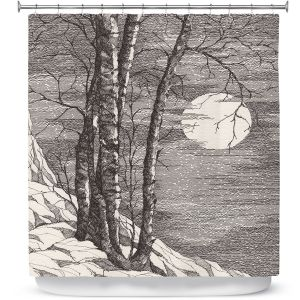 Premium Shower Curtains   Gerry Segismundo - Moonlight Sonata 1   landscape snow trees moon