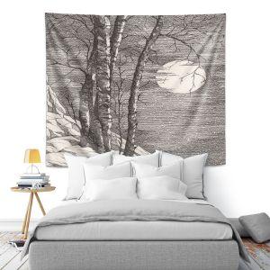 Artistic Wall Tapestry | Gerry Segismundo - Moonlight Sonata 1 | landscape snow trees moon