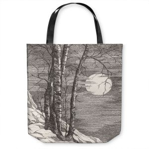 Unique Shoulder Bag Tote Bags | Gerry Segismundo - Moonlight Sonata 1 | landscape snow trees moon