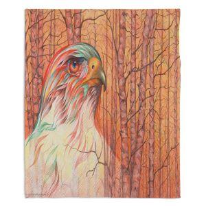 Decorative Fleece Throw Blankets | Gerry Segismundo - Raptor All Psyched Up | bird of prey tree forest