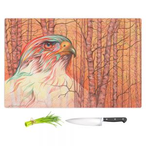 Artistic Kitchen Bar Cutting Boards | Gerry Segismundo - Raptor All Psyched Up | bird of prey tree forest