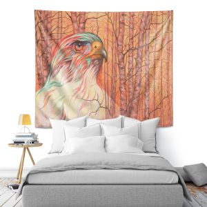 Artistic Wall Tapestry | Gerry Segismundo - Raptor All Psyched Up | bird of prey tree forest