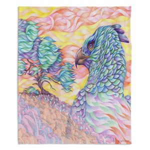 Decorative Fleece Throw Blankets | Gerry Segismundo - Raptors Vigilance | bird of prey tree forest