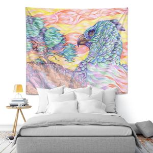 Artistic Wall Tapestry   Gerry Segismundo - Raptors Vigilance   bird of prey tree forest