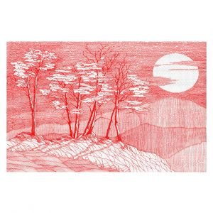 Decorative Floor Covering Mats   Gerry Segismundo - Red Moon   landscape geometric abstract surreal