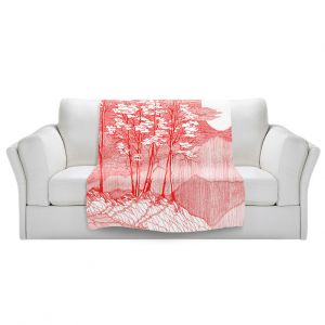 Artistic Sherpa Pile Blankets   Gerry Segismundo - Red Moon   landscape geometric abstract surreal