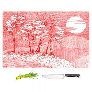 Artistic Kitchen Bar Cutting Boards | Gerry Segismundo - Red Moon | landscape geometric abstract surreal
