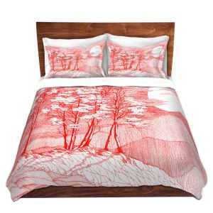 Artistic Duvet Covers and Shams Bedding | Gerry Segismundo - Red Moon | landscape geometric abstract surreal