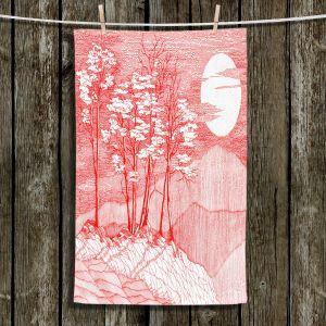Unique Bathroom Towels | Gerry Segismundo - Red Moon | landscape geometric abstract surreal