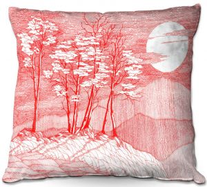 Decorative Outdoor Patio Pillow Cushion | Gerry Segismundo - Red Moon | landscape geometric abstract surreal