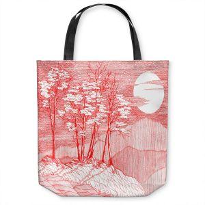Unique Shoulder Bag Tote Bags | Gerry Segismundo - Red Moon | landscape geometric abstract surreal