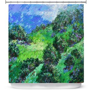 Premium Shower Curtains | Gerry Segismundo - Rolling Hills | landscape abstract surreal painting impressionism