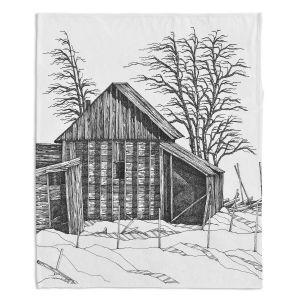 Decorative Fleece Throw Blankets | Gerry Segismundo - Rustic 1 | landscape crosshatch forest snow