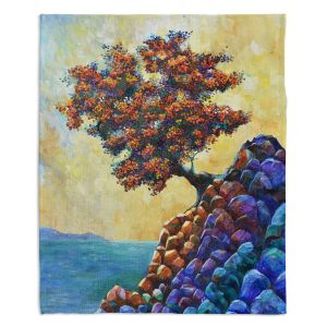 Artistic Sherpa Pile Blankets | Gerry Segismundo - Solitude 2 | landscape coast mountains tree