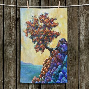 Unique Bathroom Towels | Gerry Segismundo - Solitude 2 | landscape coast mountains tree