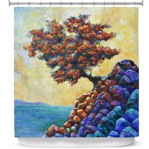 Premium Shower Curtains | Gerry Segismundo - Solitude 2 | landscape coast mountains tree