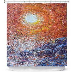 Premium Shower Curtains | Gerry Segismundo - Splash | ocean landscape sky sun wave