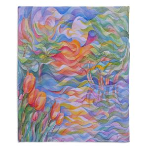Decorative Fleece Throw Blankets | Gerry Segismundo - Sunset Tulips | surreal pattern flower nature geometric