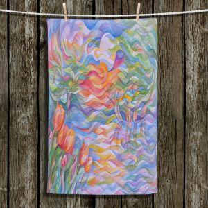 Unique Hanging Tea Towels   Gerry Segismundo - Sunset Tulips   surreal pattern flower nature geometric